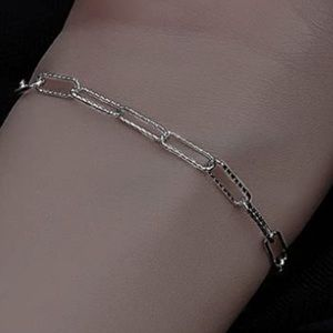 925 STERLING SILVER TEXTURED PAPERCLIP BRACELET